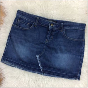 GUESS Blue Jeans Mini Skirt Frayed Low Rise